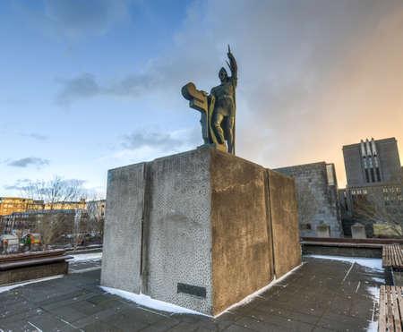 settler: Statue of Ingolf Arnarson in Arnarholl, Reykjavik, Iceland  He was a settler from Norway  He