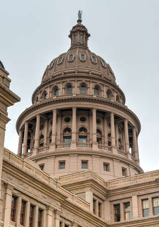 distinctive: The Texas State Capitol Building in downtown Austin. The building was built in 1882-1888 of distinctive sunset red granite.