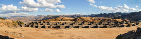 Sacsayhuaman, a walled complex on the northern outskirts of the city of Cusco, Peru, the former capital of the Inca Empire. 版權商用圖片