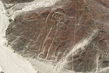 Nazca Lines Astronaut as viewed from a plane, Nazca, Peru  Stock Photo