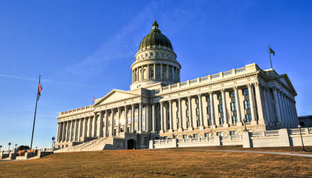 governor: State Capitol Building in Salt Lake City, Utah. The building houses the chambers of the Utah State Legislature, the offices of the Governor and Lieutenant Governor of Utah. Stock Photo