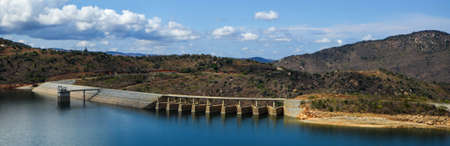 kilometres: Panoramic view of the Maguga Dam on the Komati River in Hhohho, Swaziland. It is 115 metres high and is located 11 kilometres south of Piggs Peak. Stock Photo