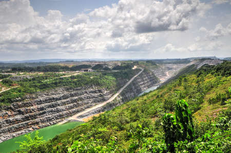 gold mining: Open Pit Gold Mine in Ghana, Africa with a view of the cut out earth.