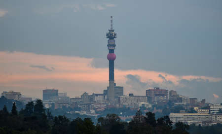 View of the Johannesburg, South Africa skyline at dusk.