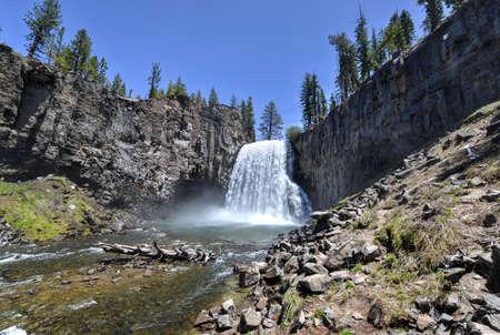san joaquin: Rainbow Falls at Devils Postpile National Monument Stock Photo