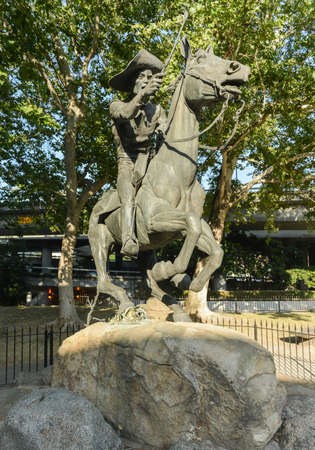 Pony Express Statue in Old Sacramento State Historic Park.