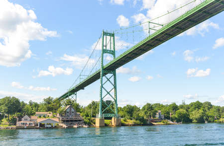 The Thousand Islands Bridge. An international bridge system constructed in 1937 over the Saint Lawrence River connecting northern New York in the United States with southeastern Ontario in Canada.