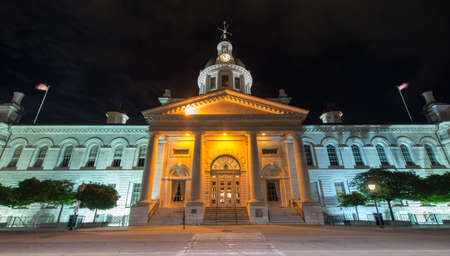 kingston: Kingston City Hall in Kingston, Ontario, Canada at night. Stock Photo