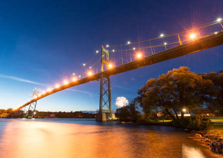The Thousand Islands Bridge at night.  photo