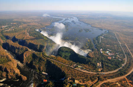 Victoria Falls, located on the Zambezi River on the border between Zambia and Zimbabwe.