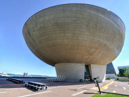 The Egg, a performing arts venue in Albany, New York  It was designed by Harrison   Abramovitz as part of the Empire State Plaza project