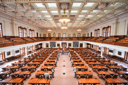 guard house: AUSTIN, TEXAS - MARCH 7: The House of Representatives Chamber of the Texas State Capitol building during the changing of the guard on March 7, 2014 in Austin, Texas.