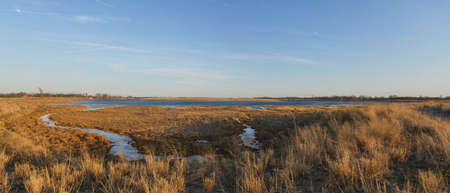 Marine Park Salt March. Panorama of Brooklyns largest park consisting of 530 acres of grassland and precious salt marsh in the spring. Stock Photo
