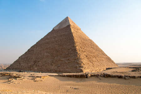 Egyptian Pyramids of the Giza Plateau in Cairo.
