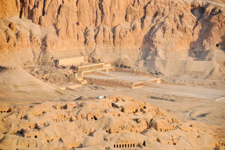 The Mortuary Temple of Queen Hatshepsut, Egypt from the air.