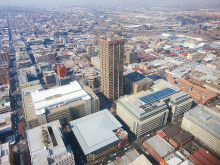 johannesburg: JOHANNESBURG, SOUTH AFRICA - MAY 31, 2013: View from the Carlton Centre 50th Floor, Top of Africa in Johannesburg, South Africa. View of the citys skyscrapers below.