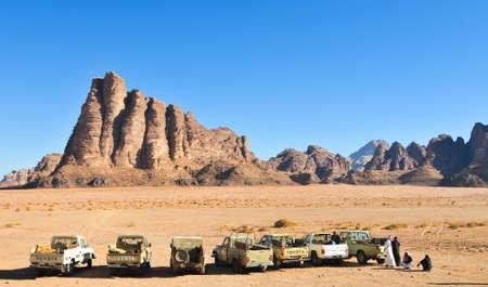 WADI RUM, JORDAN - JANUARY 5, 2009: The Seven Pillars of Wisdom in Wadi Rum, Jordan.