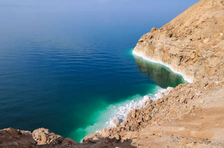 arava: View of the Dead Sea coastline. The Dead Sea is the deepest hypersaline lake in the world.
