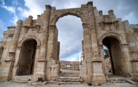 hadrian: Arch of Hadrian in Ancient Jerash ruins,(the Roman ancient city of Geraza), Jordan. Stock Photo