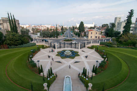 baha: The Bahai Gardens and Temple, on the slopes of the Carmel Mountain (view from above), in Haifa, Israel