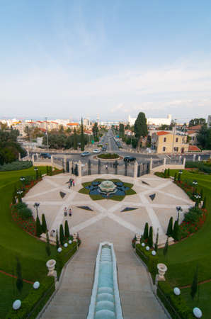 The Bahai Gardens and Temple, on the slopes of the Carmel Mountain (view from above), in Haifa, Israel photo