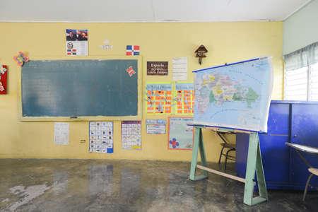 LA ALTAGRACIA PROVINCE, DOMINICAN REPUBLIC - AUGUST 31, 2014: Rural classroom of the Cañada Honda School in the Dominican Republic between Higuey and Punta Cana.