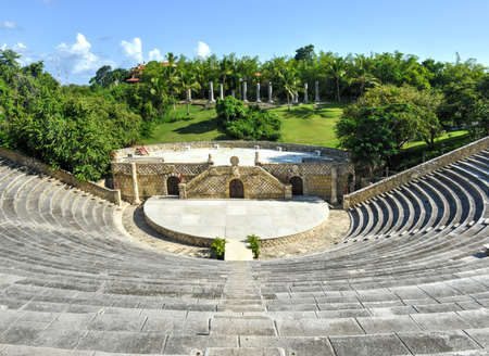 Amphitheater in ancient village Altos de Chavon - Colonial town reconstructed in Casa de Campo, La Romana, Dominican Republic, tropical seaside resort. photo
