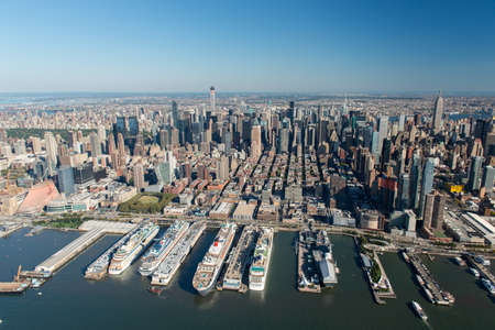 heliport: Stunning aerial view of Manhattan, New York from a helicopter.