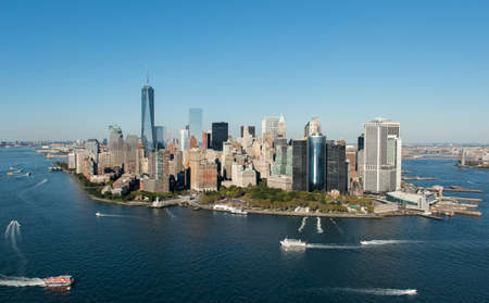 Stunning aerial view of Manhattan, New York from a helicopter.