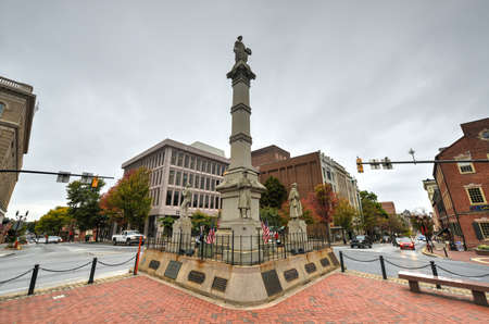 Soldiers and Sailors Monument in Lancaster, Pennsylvania. It is a 43-foot (13 m) tall Gothic Revival memorial which stands in Penn Square in downtown Lancaster.