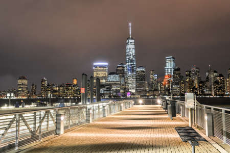 world trade center: New York City Manhattan skyline over Hudson River viewed from New Jersey piers Stock Photo