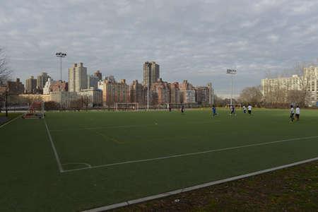 roosevelt: NEW YORK, USA - JANUARY 19, 2013: Astroturf soccer field on Roosevelt Island, New York.