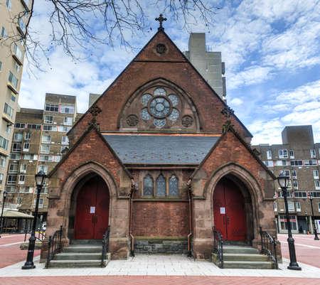 faiths: Good Shepherd Church which serves several Christian faiths on Roosevelt Island, New York. Stock Photo