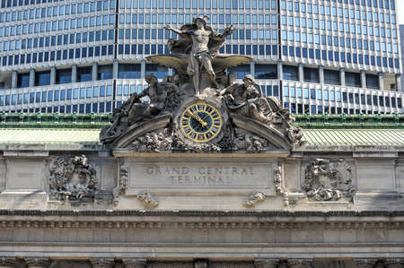 Grand Central Station in New York. The iconic beaux arts statue of the Greek God Mercury that adorns the south facade of Grand Central Terminal on East 42nd Street.
