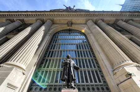 magnate: Monument to Cornelius Vanderbilt before Grand Central Station in memory as the Founder of the New York Central LInes. Editorial
