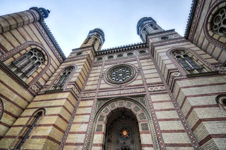 The Great Synagogue or The Dohany Street Synagogue in Budapest, Hungary on a cloudy winter day.