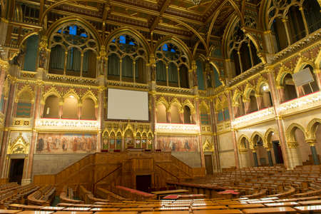 federal hall: BUDAPEST, HUNGARY - NOVEMBER 28, 2014: Interior of the House of Magnates of the Hungarian Parliament Building in Budapest. It is one of Europes oldest legislative buildings.