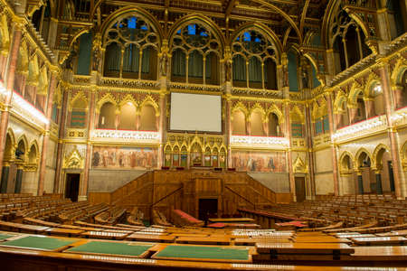 BUDAPEST, HUNGARY - NOVEMBER 28, 2014: Interior of the House of Magnates of the Hungarian Parliament Building in Budapest. It is one of Europes oldest legislative buildings.