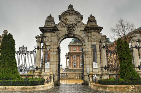 obuda: Budapest, ornate arched gateway to the Buda Castle Or Royal Palace of Hungary.