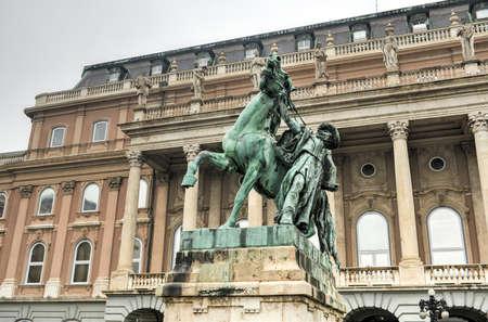 buda: The statue of the Csikos ( Hungarian horse wrangler), Buda Castle, Budapest Editorial