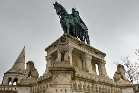 Stephen (Istvan) I Monument at Fishermans Bastion in Budapest, Hungary