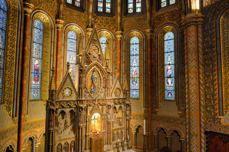 florid: BUDAPEST, HUNGARY - NOVEMBER 28, 2014: The interior of Matthias Church in Budapest, Hungary. The building was constructed in the florid late Gothic style in the second half of the 14th century.