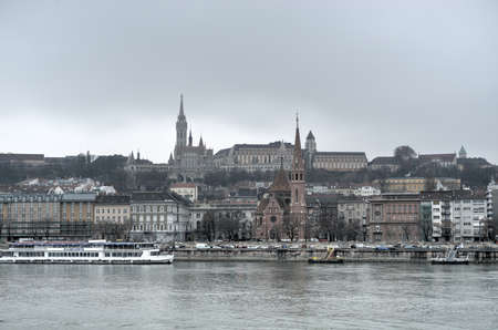 castle district: View of the Matthias Church, built at the heart of Budas Castle District across the Danube River.