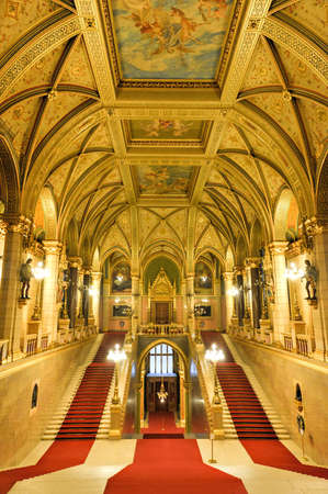 BUDAPEST, HUNGARY - NOVEMBER 28, 2014: Interior of Hungarian Parliament Building in Budapest. It is one of Europes oldest legislative buildings and a popular tourist destination of Budapest.