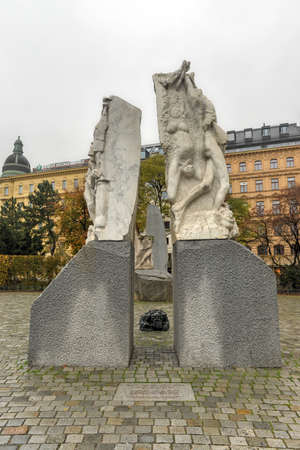 innere: VIENNA, AUSTRIA - NOVEMBER 30, 2014: Memorial against War and Fascism. Created by Alfred Hrdlicka, it commemorates the victims of war, especially those killed during the NS regime and WW II.
