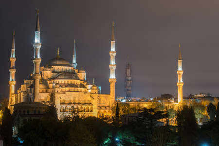 Blue Mosque in Istanbul at night. Also know as the Sultan Ahmed Mosque, it is a historic mosque in Istanbul.