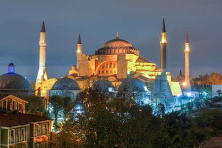 sofia: Hagia Sofia at night in Istanbul, Turkey