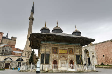 The Fountain of Sultan Ahmed III is shown in Istanbul, Turkey. It is adjacent to Hagia Sophia and the Imperial Gate. The fountain was built in 1728.