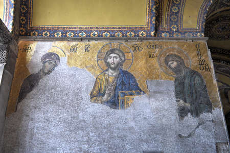 ISTANBUL, TURKEY - DECEMBER 2, 2014: Jesus Christ, a Byzantine mosaic in the interior of Hagia Sophia in Istanbul. Editorial