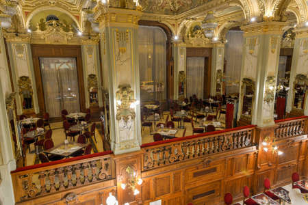 BUDAPEST, HUNGARY - NOVEMBER 29, 2014. One of the most beautiful and famous cafe in the world - New York Cafe in the Boscolo Hotel, Budapest . The cafe opened in 1894.
